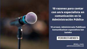10 razones para contar con un/a especialista en comunicación en la Administración Pública